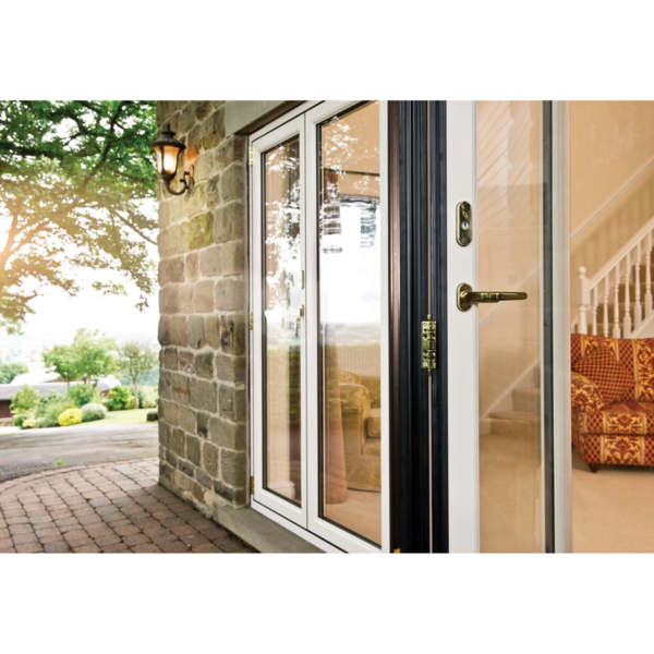 AluminaBespoke Bifolding doors Bedford outside white frame